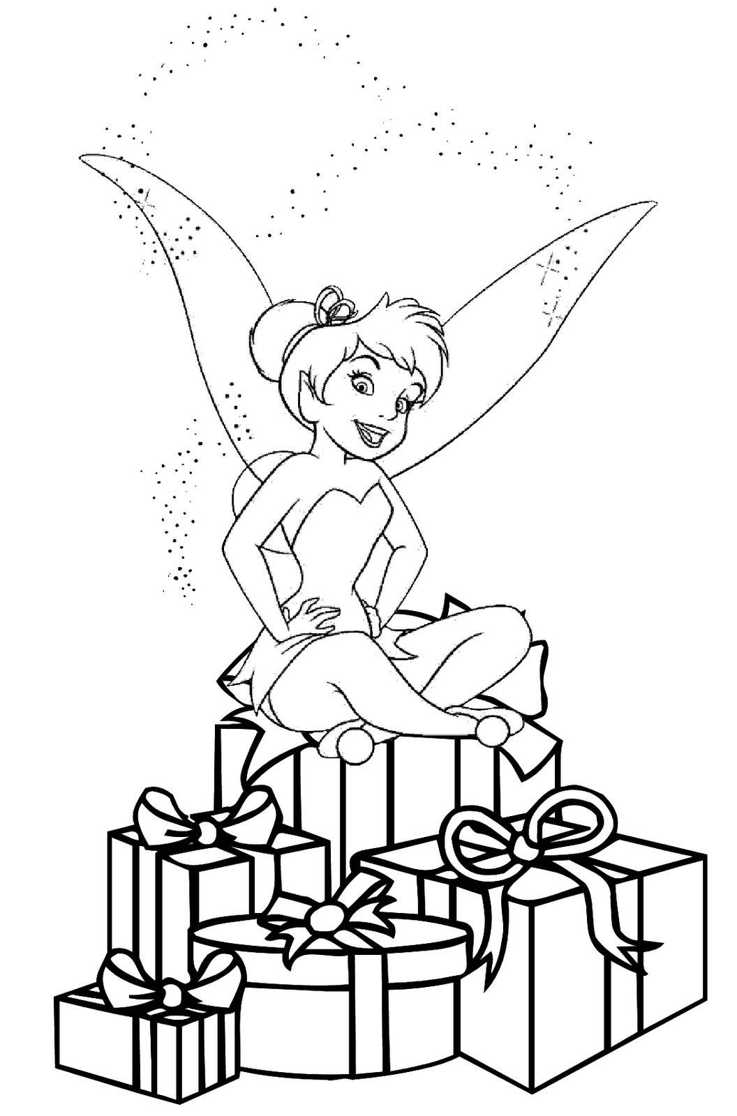 Christmas colouring in sheets printable - Christmas Tinkerbell Coloring Pages