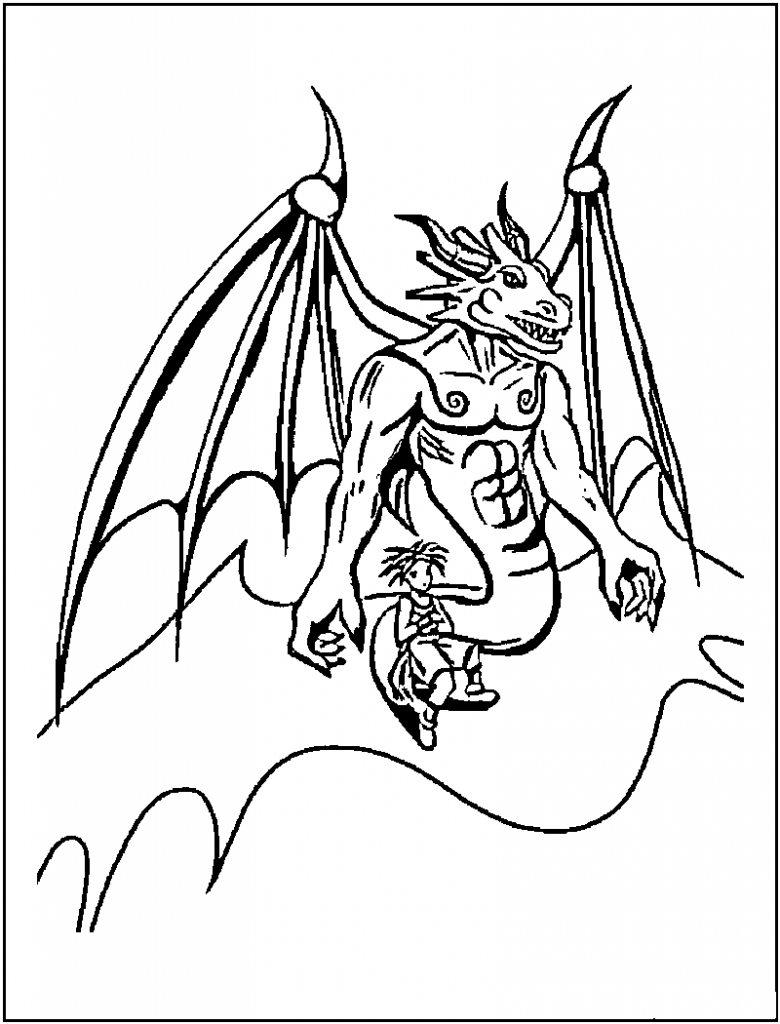 Coloring Pages of a Dragon