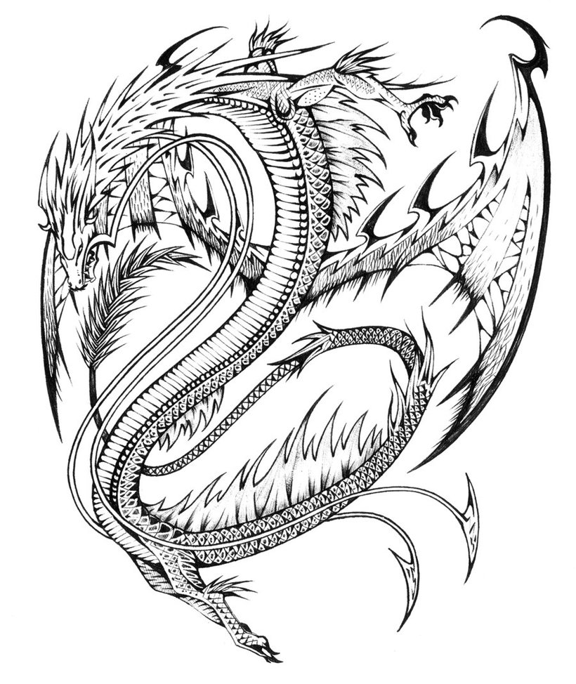 detailed dragon coloring pages - photo #38