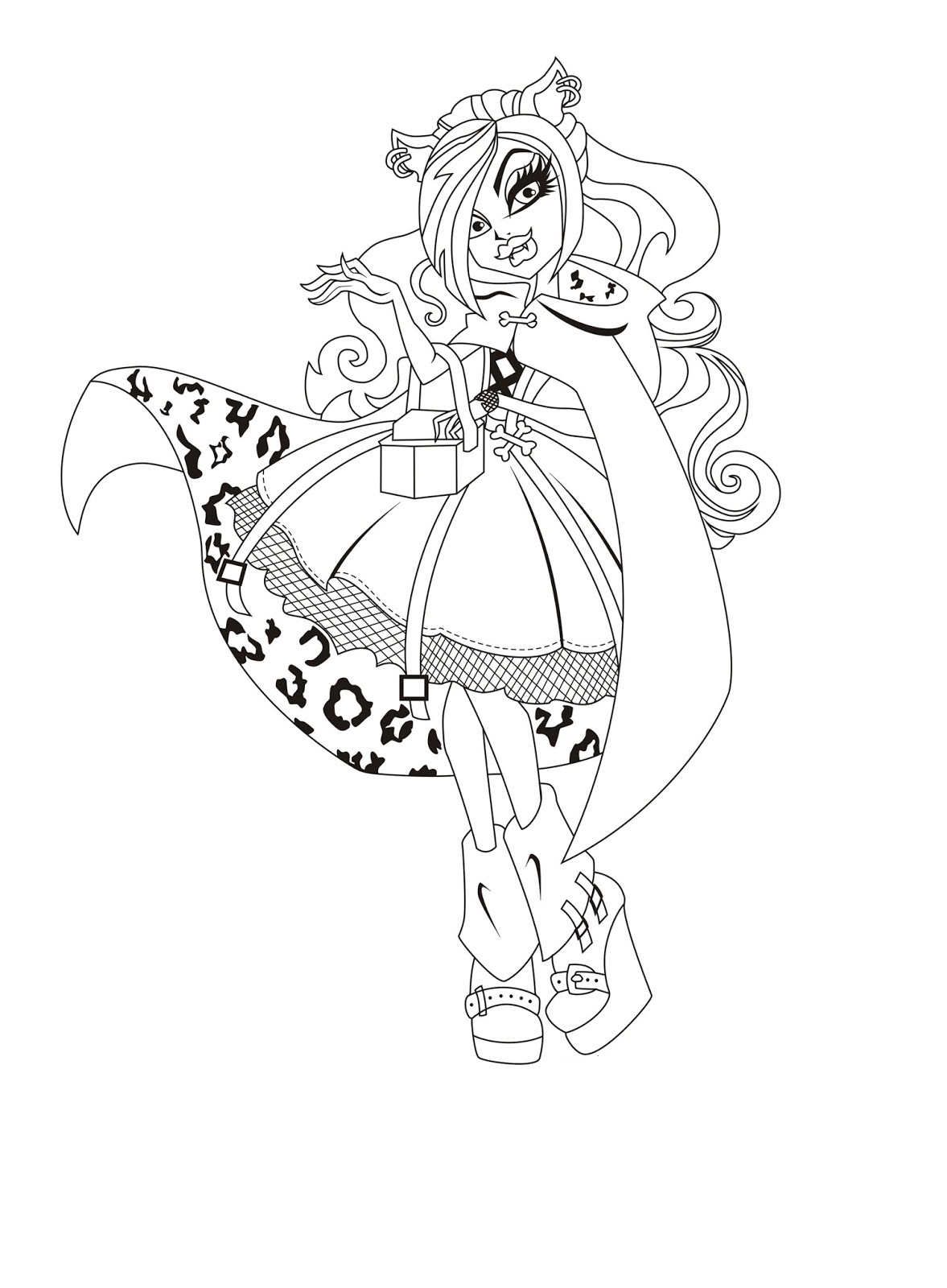 Free printable monster high coloring pages for kids for Photo to coloring page