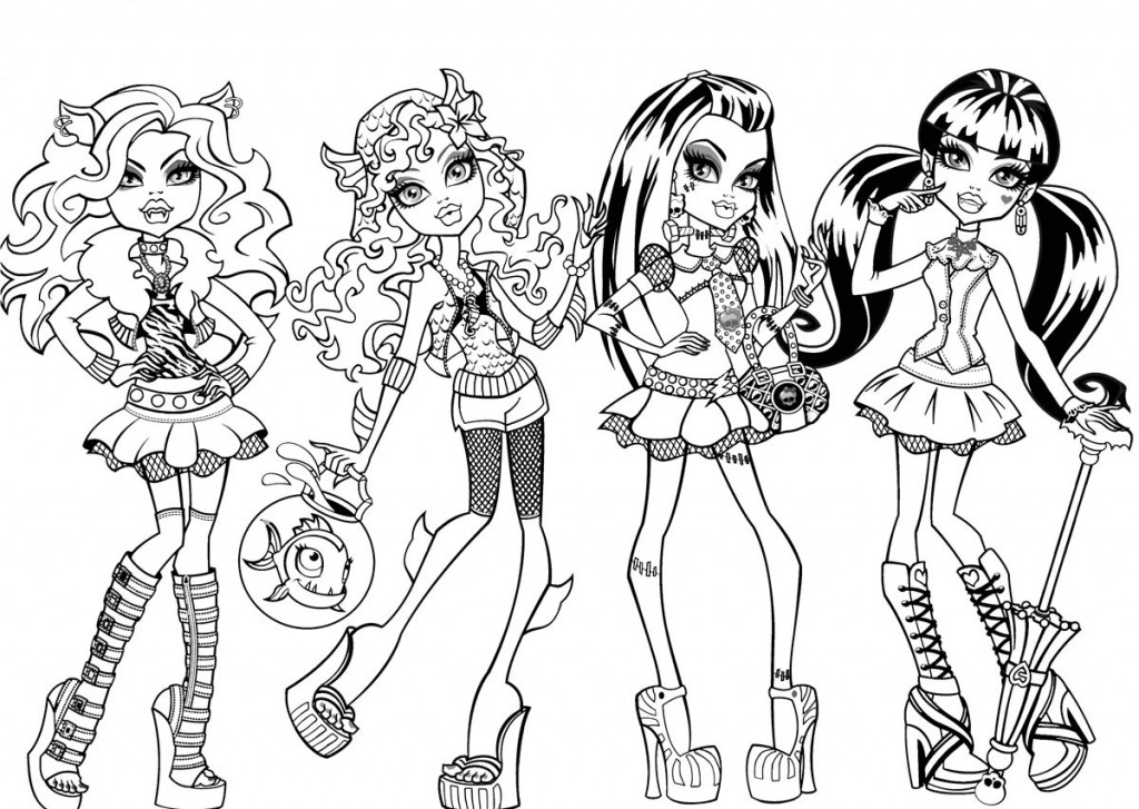 free printable monster high coloring pages for kids - Monster High Dolls Coloring Pages