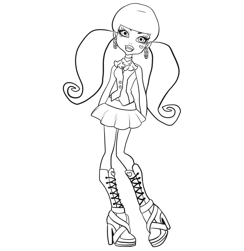 free printable monster high coloring pages for kids - Coloring Pages Monster High Dolls