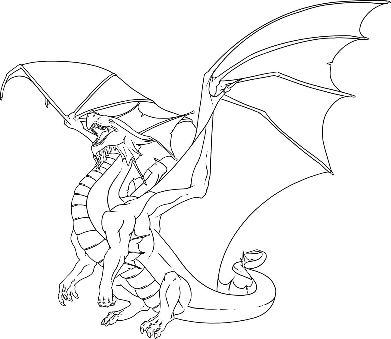realistic fire breathing dragon coloring pages | Just Colorings
