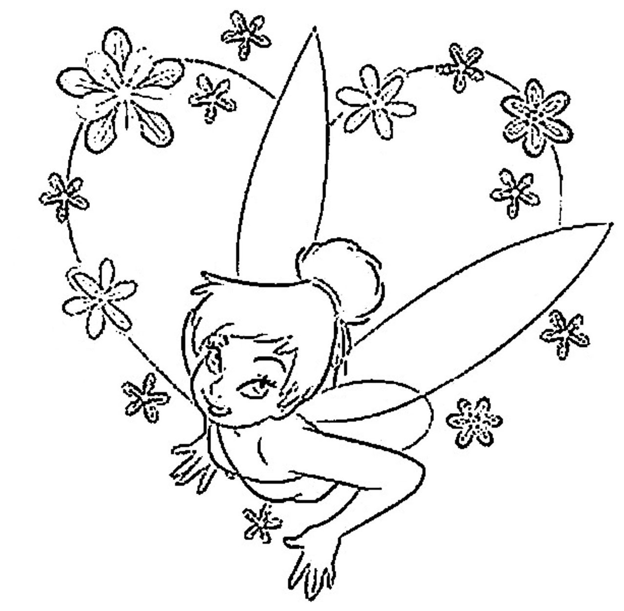 Tinkerbell Coloring Pages Template