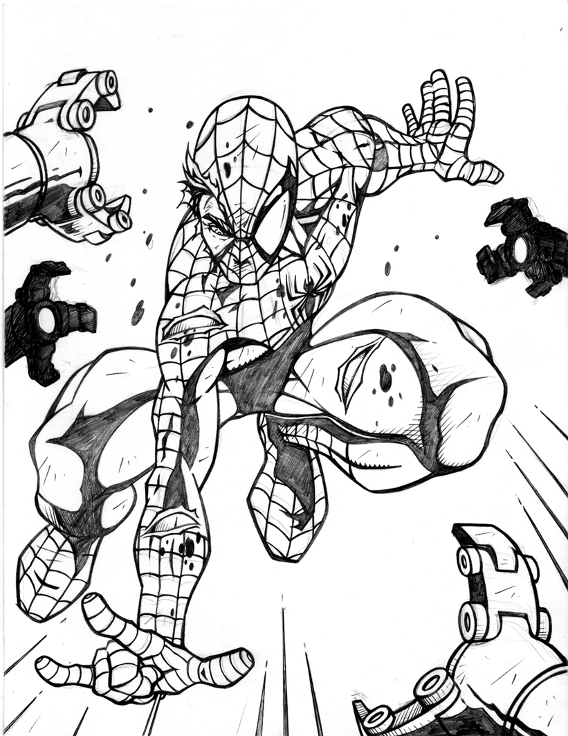 Spiderman online coloring pages for kids - Spiderman Coloring Pages Online