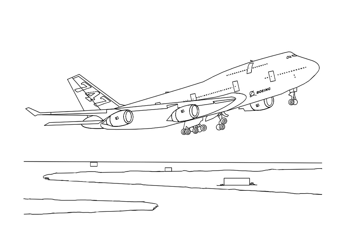 airplane take off coloring pages