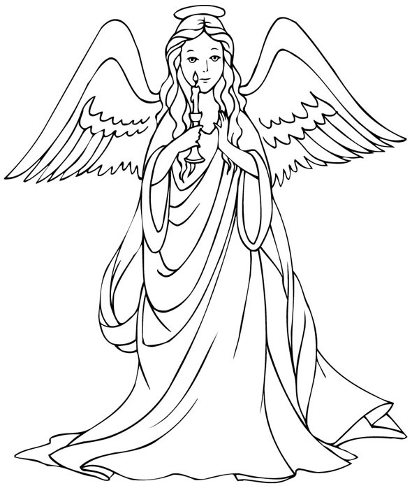 Angels Coloring Pages Print Christmas Angel Page