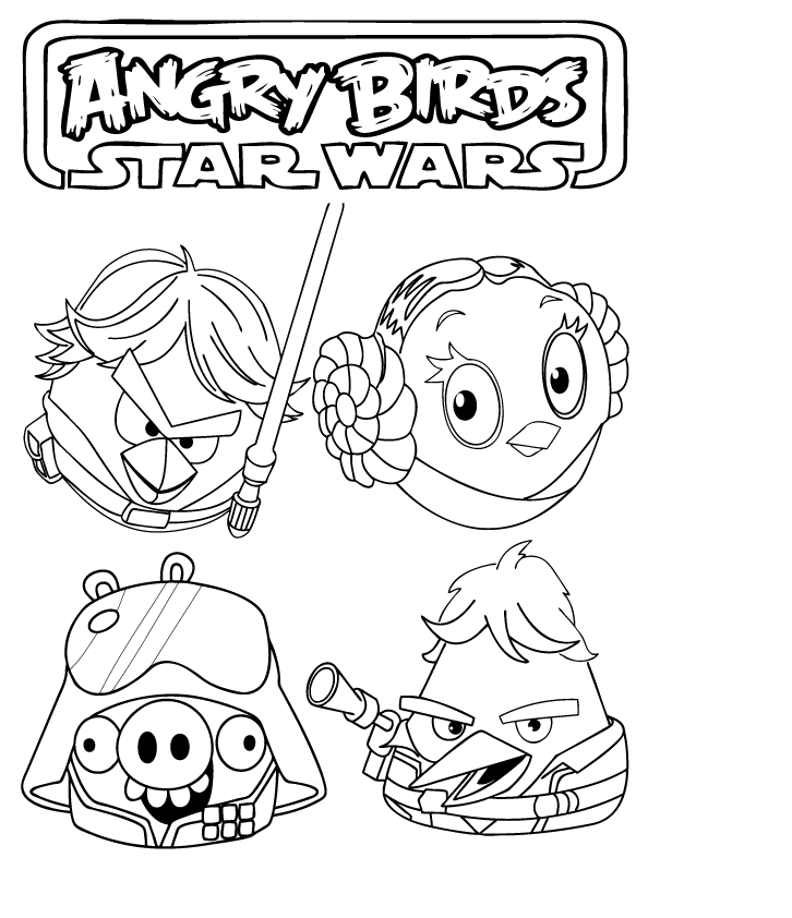 angry bird star wars coloring pages - free printable angry bird coloring pages for kids
