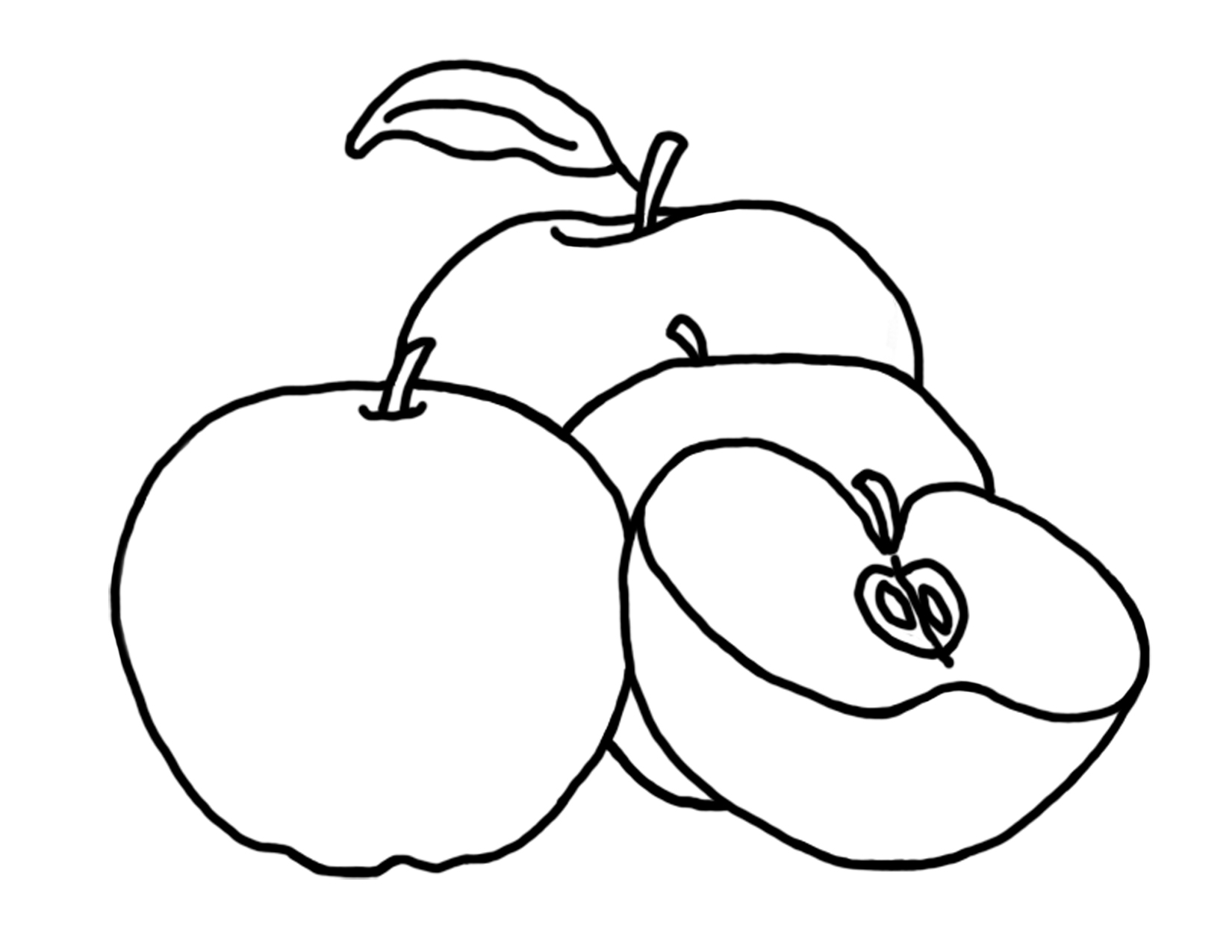 Coloring sheets of fruit trees - Apples Coloring Pages Pictures