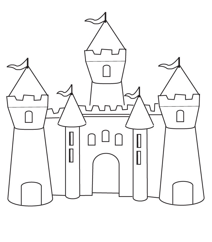 simple castles coloring pages