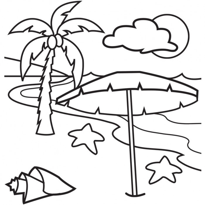 free online beach coloring pages - photo#4