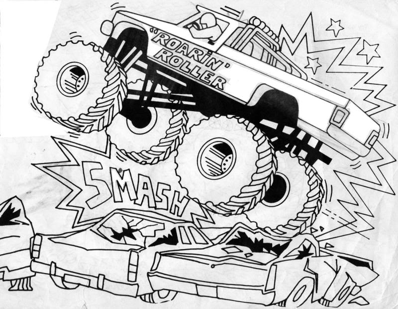 It is a picture of Crafty Monster Truck Printable Coloring Pages