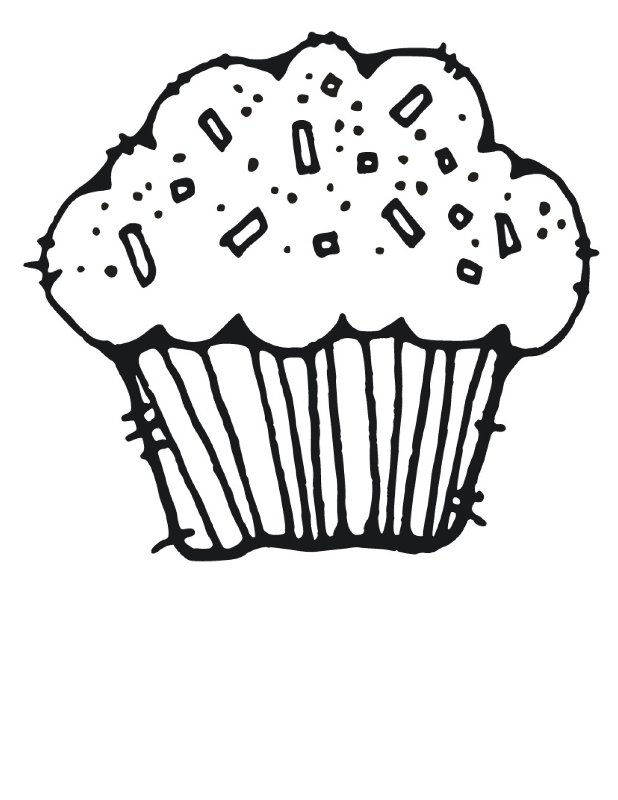 birthday cupcake coloring pages - Cupcakes Coloring Pages
