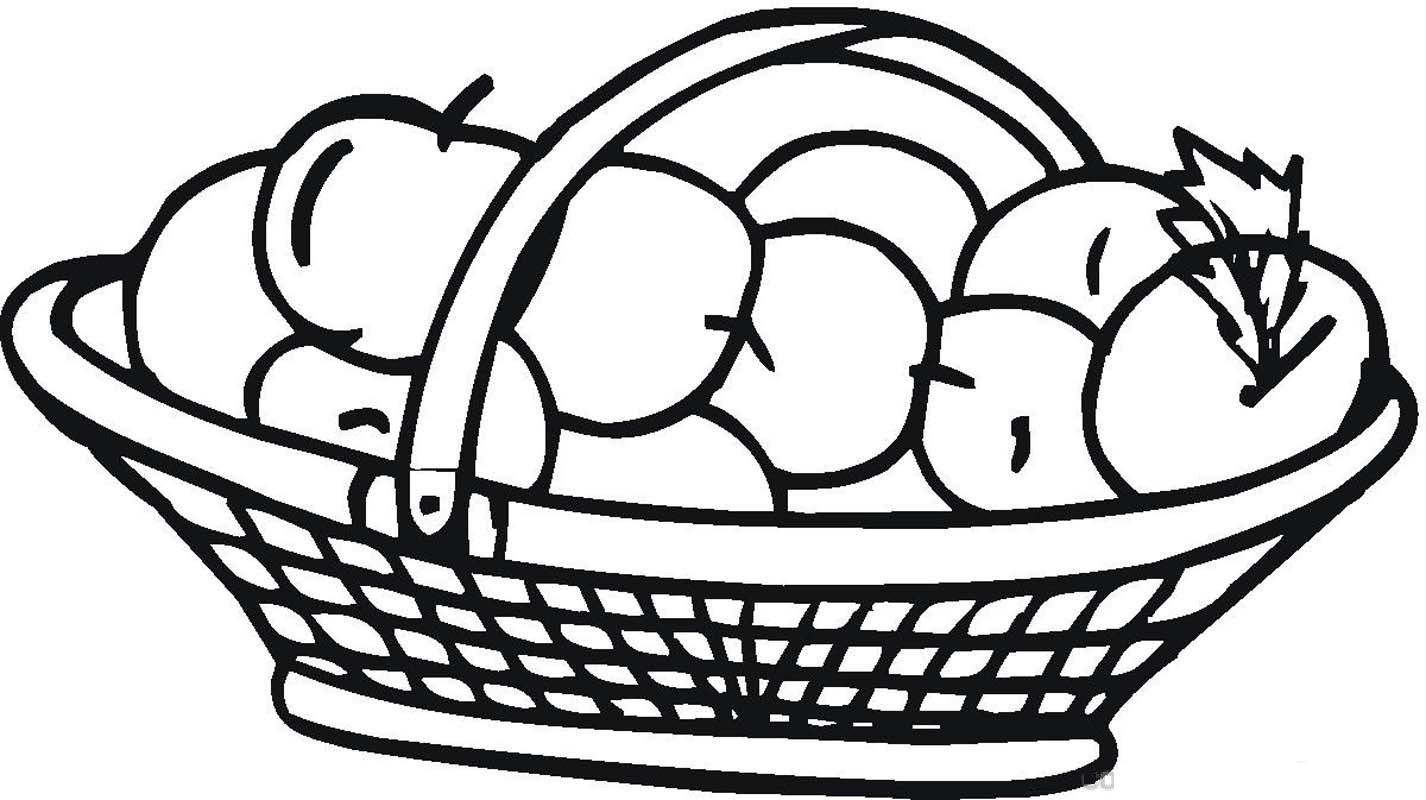 busket apple coloring pages - Apples Coloring Pages