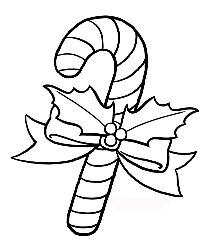 Free printable coloring pages about christmas - Christmas Candy Cane Coloring Pages