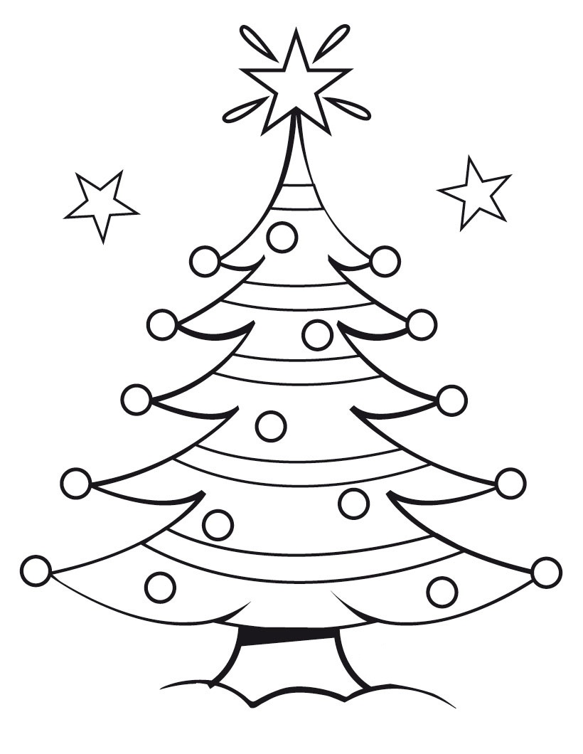 Printable Christmas Tree Coloring Pages Kids
