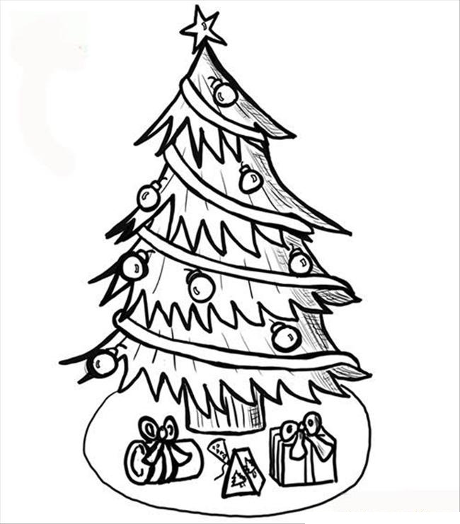 Line Art Xmas : Free printable christmas tree coloring pages for kids