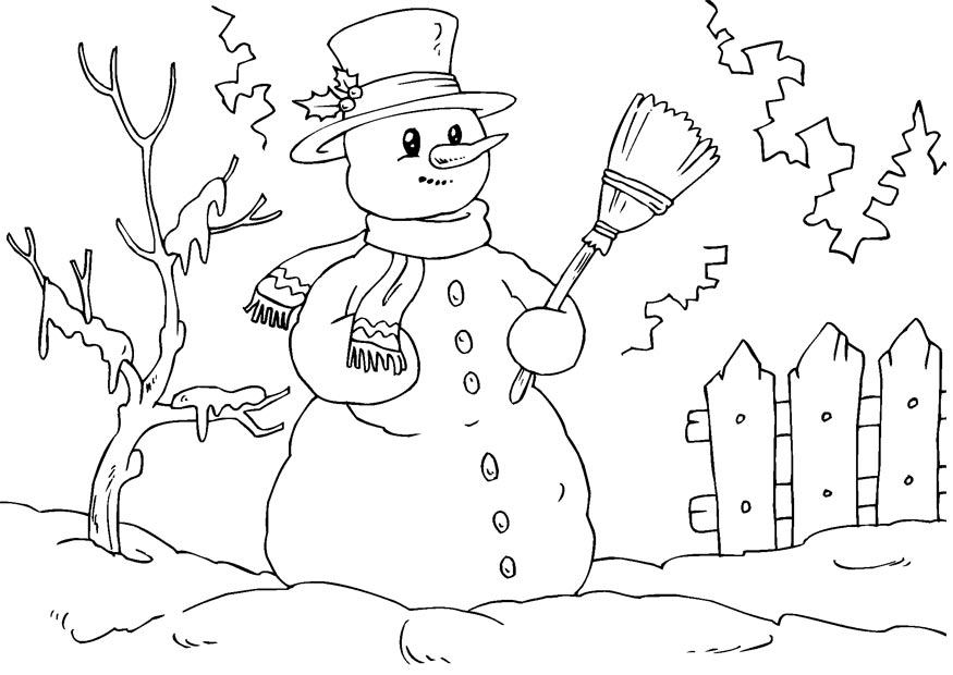 coloring pages and snowman - photo#7