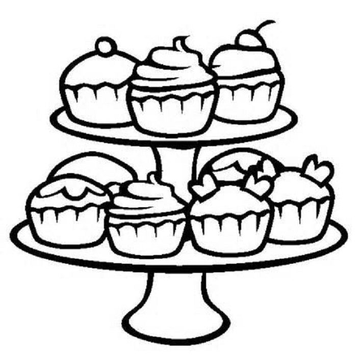Cup Cake Coloring Pages For Preschoolers : Free Printable Cupcake Coloring Pages For Kids