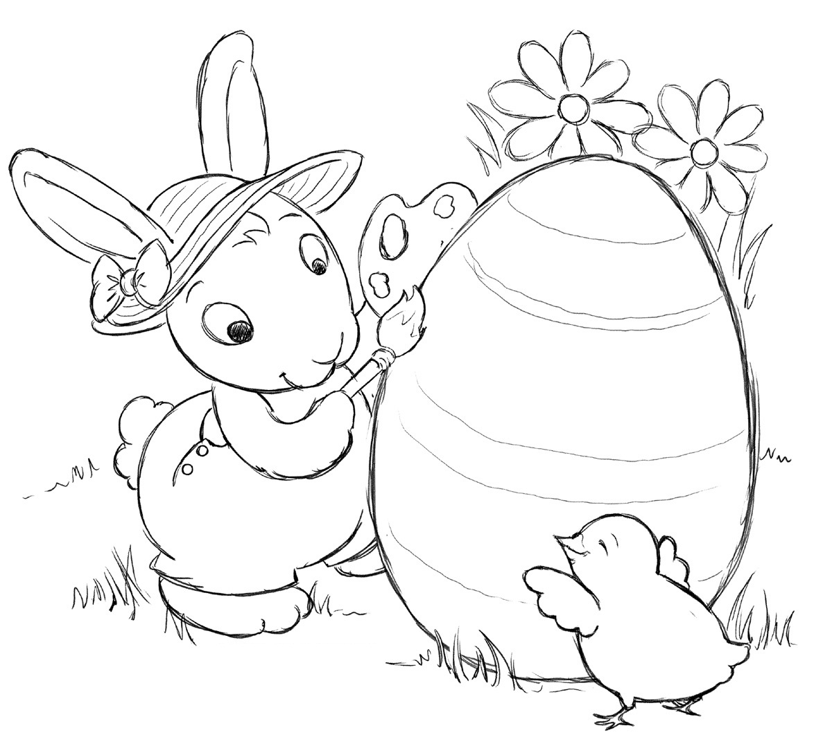 Free printable coloring pages rabbits - Coloring Pages Of Easter Bunny