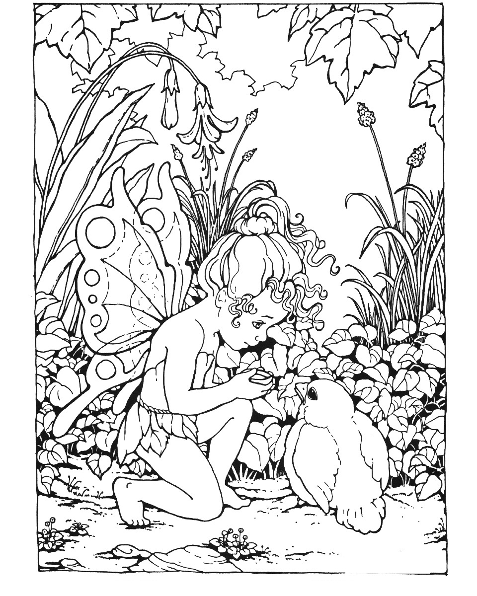 Free printable fairy coloring pages for kids for Coloring pages to print for adults