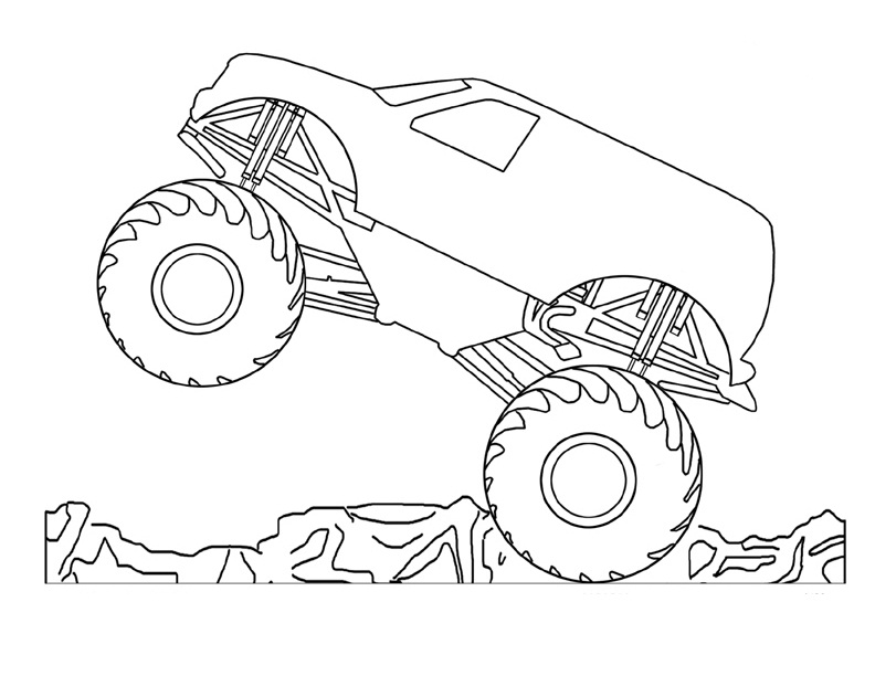 coloring pages of monster trucks for kids - Monster Truck Coloring Pages Easy