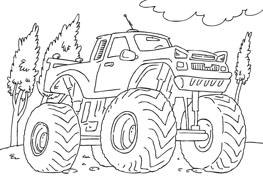 This is a photo of Crafty Monster Truck Printable Coloring Pages