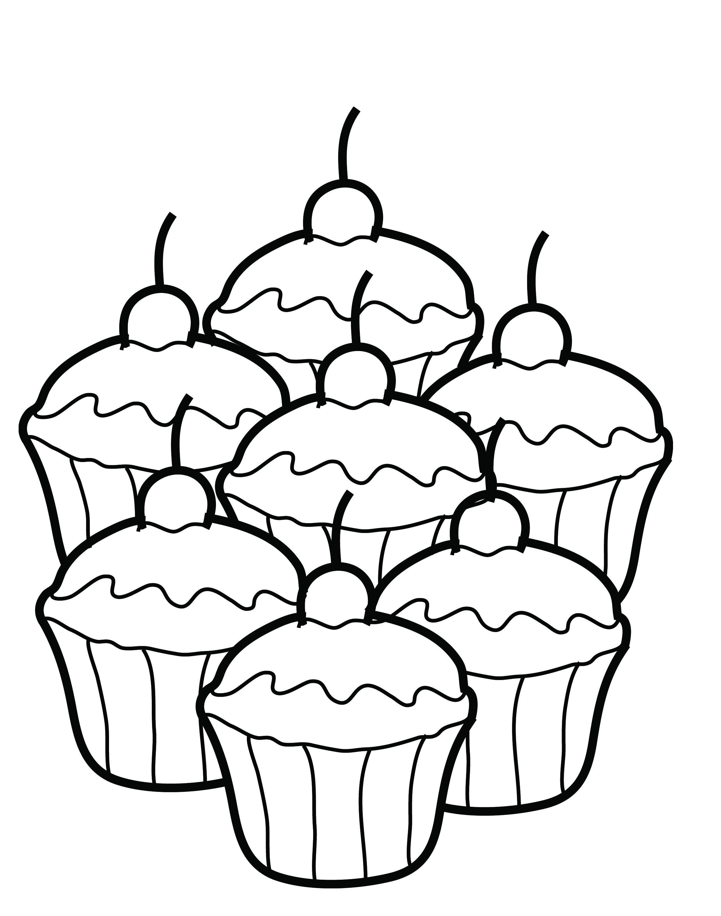 free printable cupcake coloring pages for kids - Pichers For Kids
