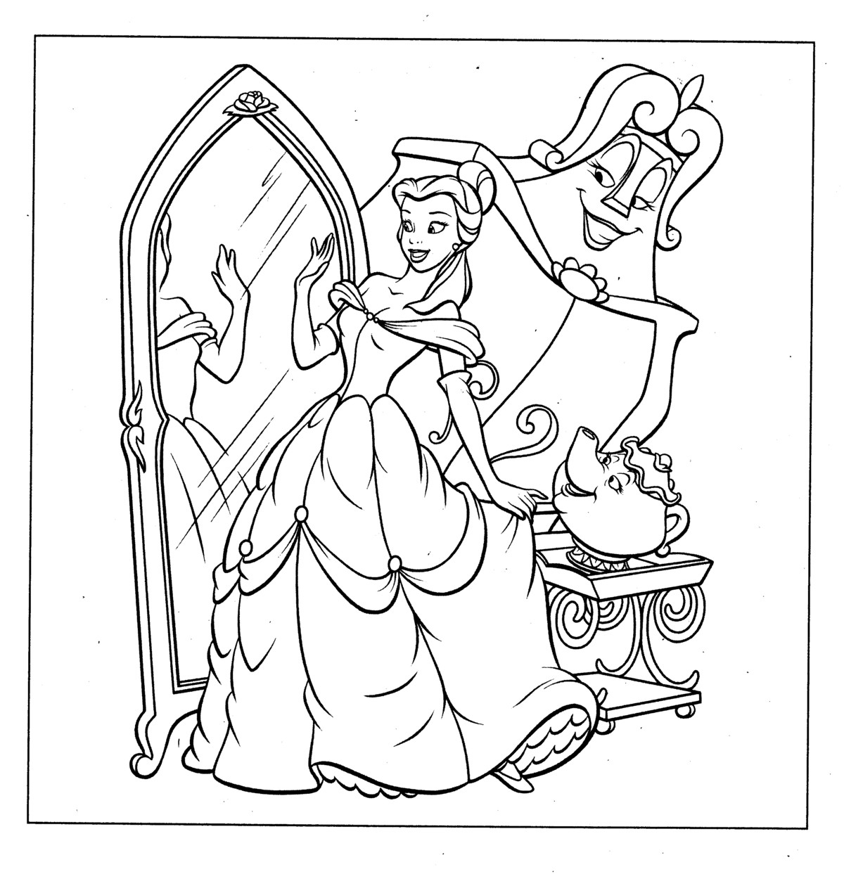 Free coloring disney princess pages - Disney Princess Color Pages