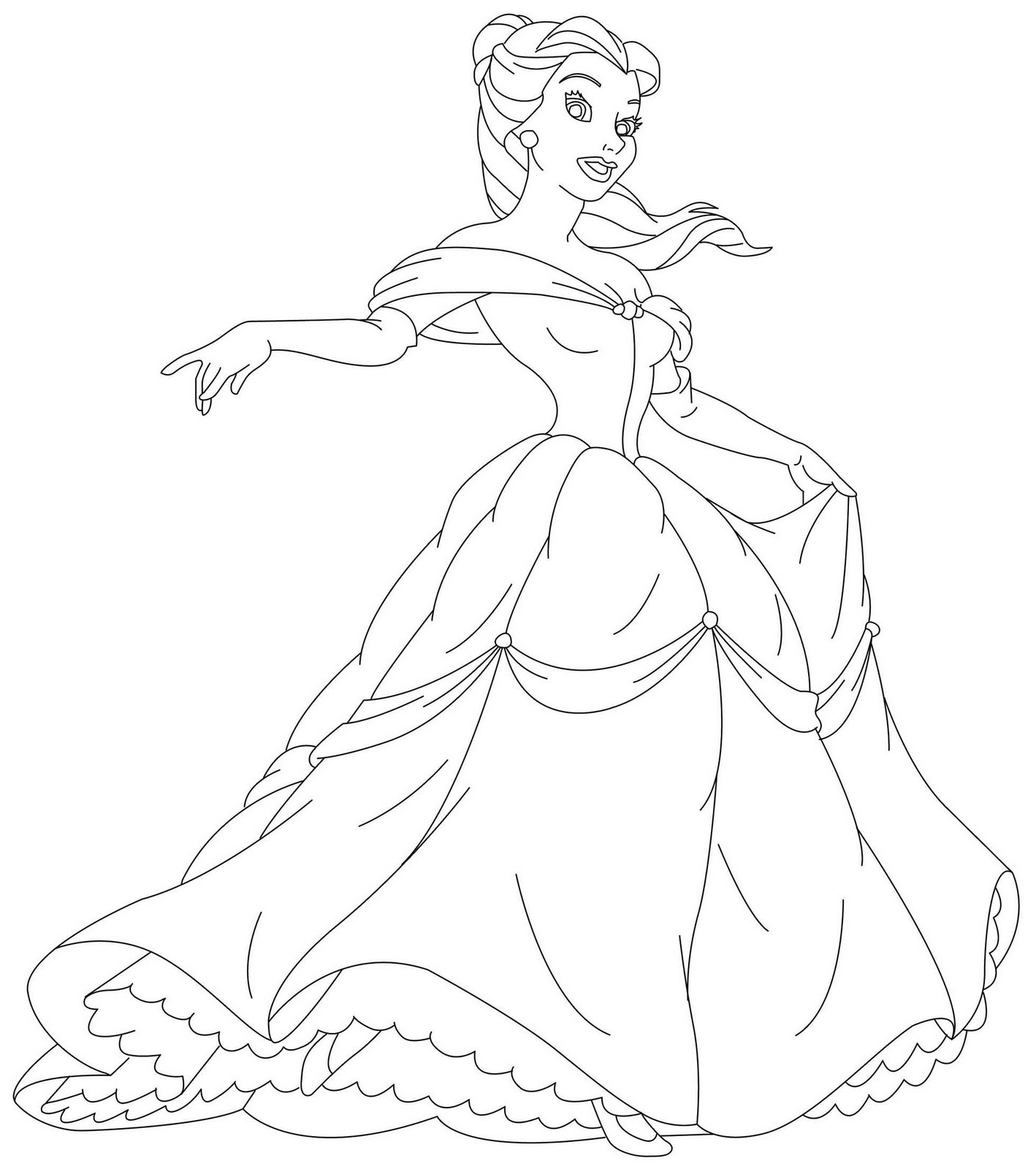 Coloring Pages Disney Princess Belle : Free printable disney princess coloring pages for kids