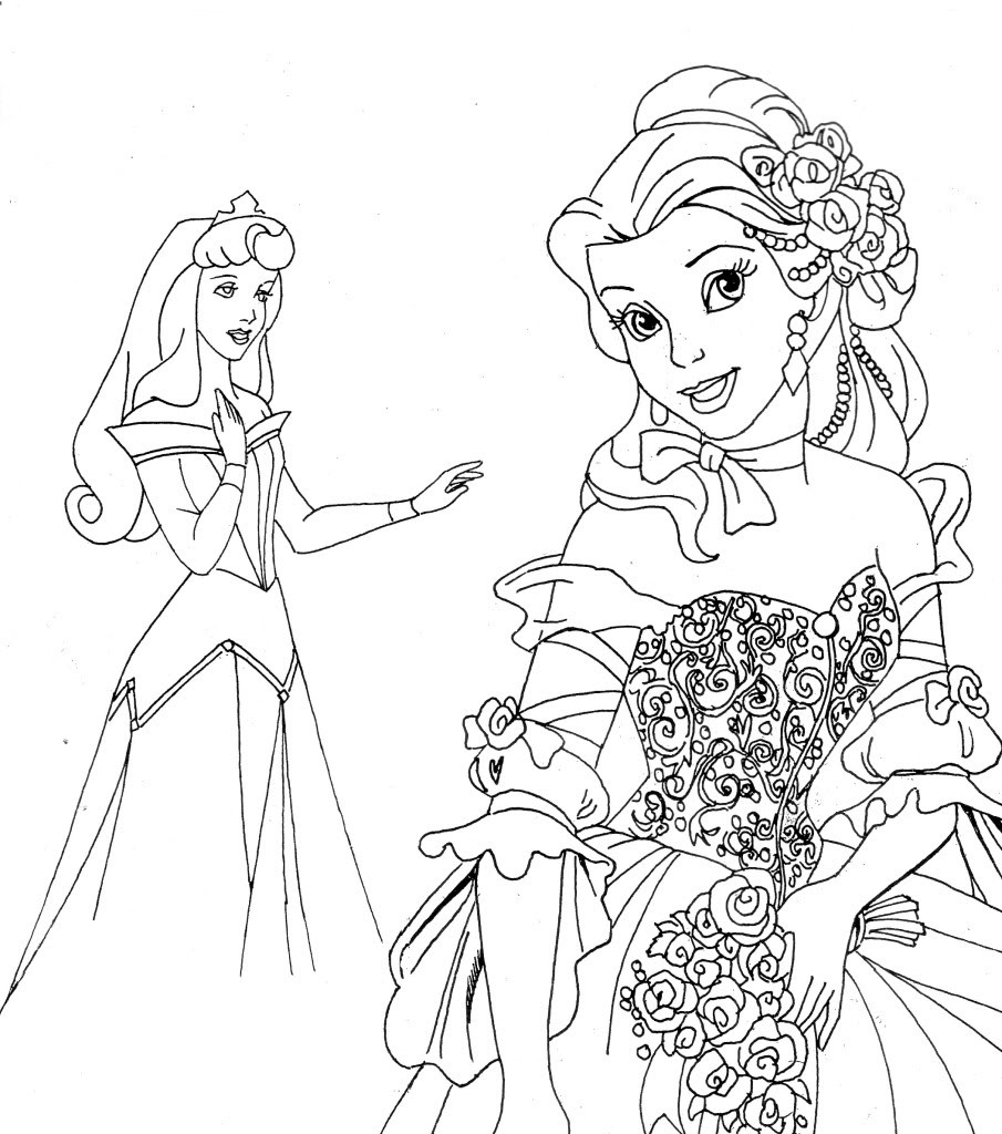 Princess coloring book pages - Disney Princesses Printable Coloring Pages