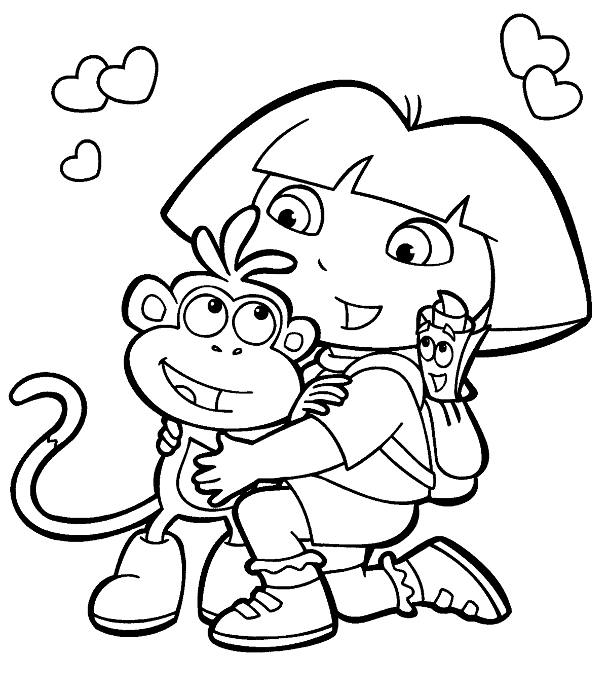Free printable dora the explorer coloring pages for kids for Dora the explorer coloring pages online free