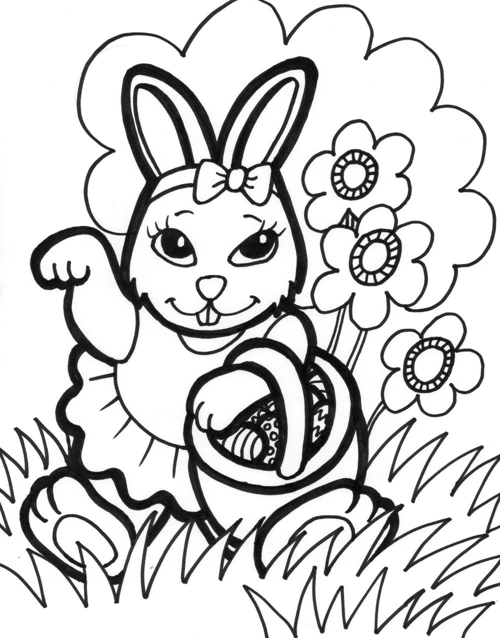 Coloring Pages For Easter Bunny : Free printable easter bunny coloring pages for kids