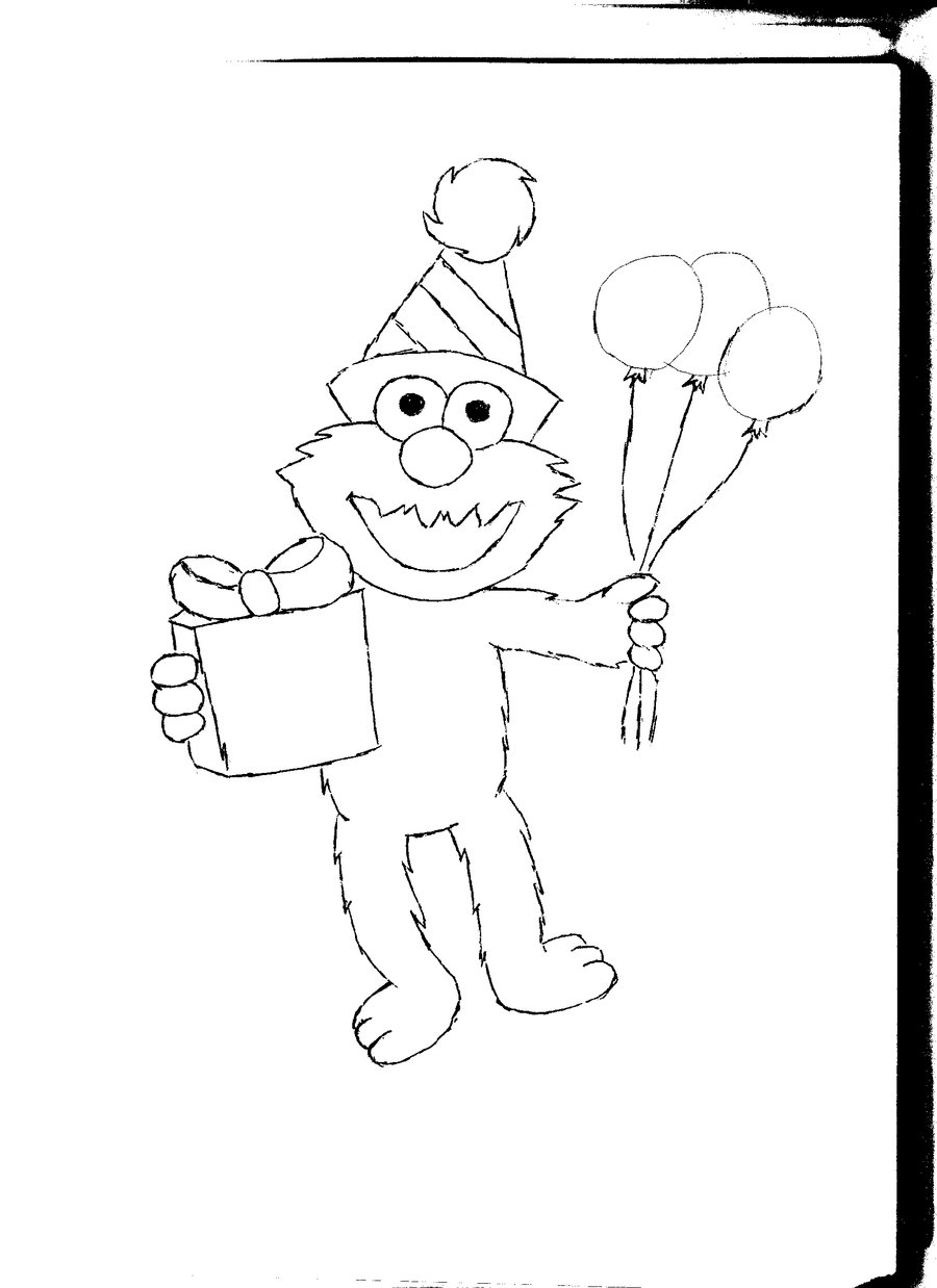 Free printable elmo coloring pages for kids for Birthday coloring page
