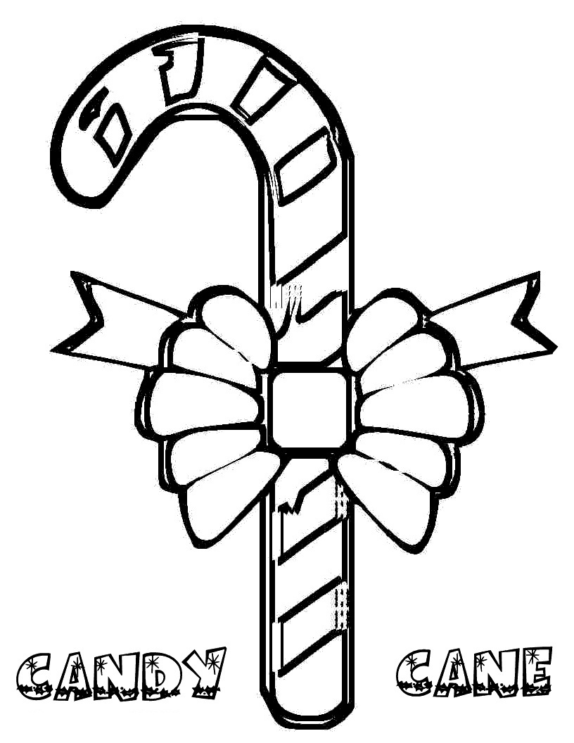 Free Candy Cane Coloring Page For Kids