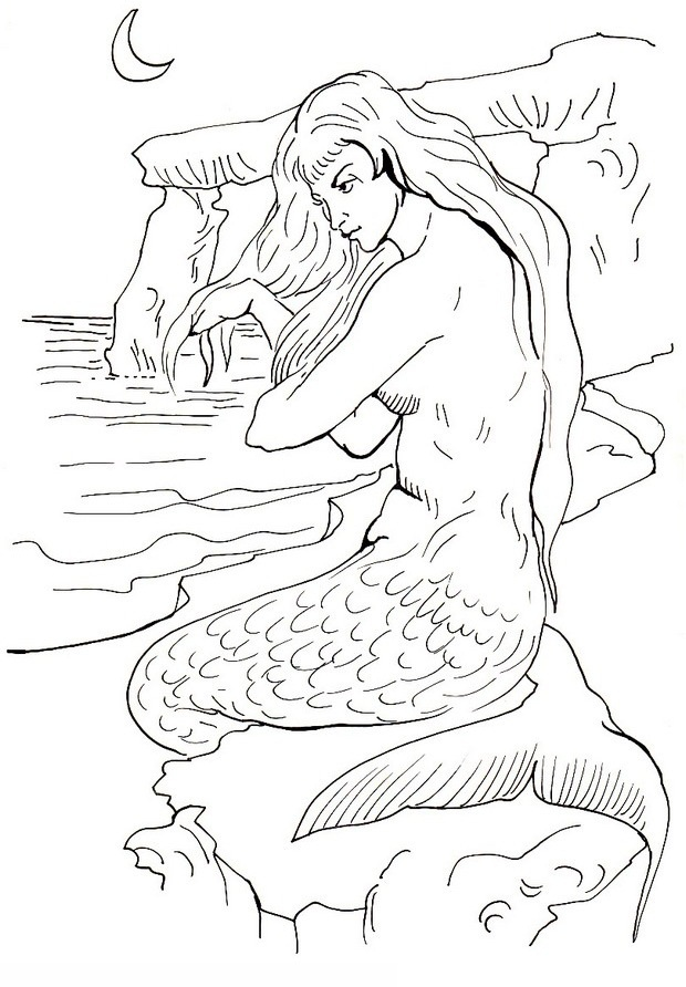 Printable Mermaid Coloring Pages For Adults Coloring Coloring Pages