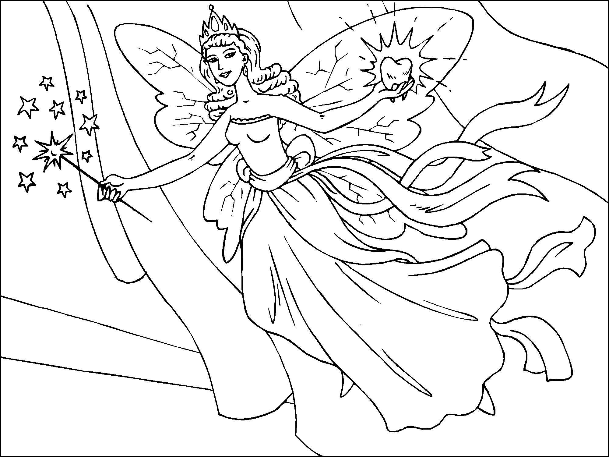 free fairy coloring pages to print - Fairy Coloring Page