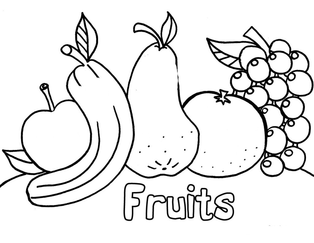 fruit coloring pages printable - Coloring Worksheets For Kindergarten