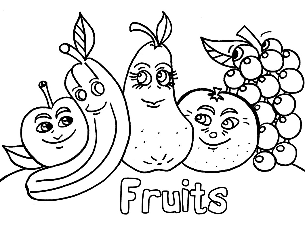 Clip Art Fruits Coloring Page free printable fruit coloring pages for kids pages