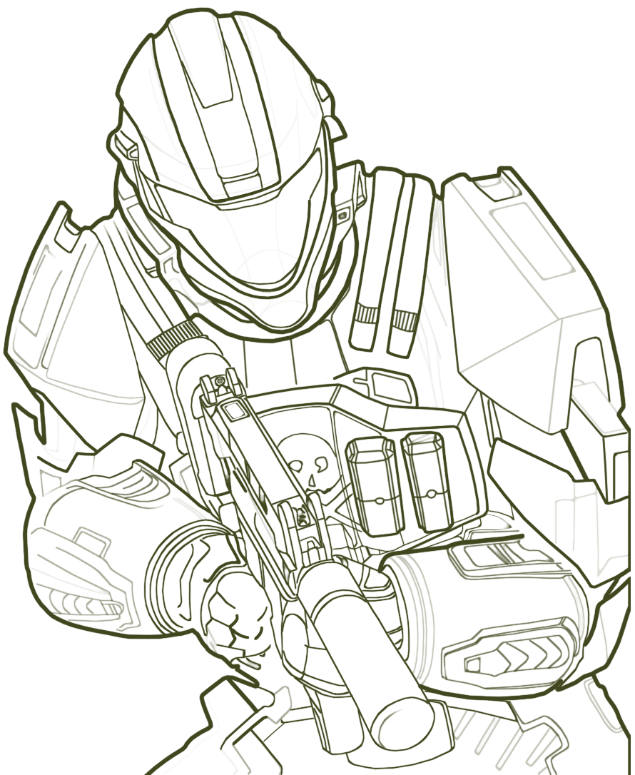 halo color pages. Halo Spartan Coloring Pages Free Printable For Kids