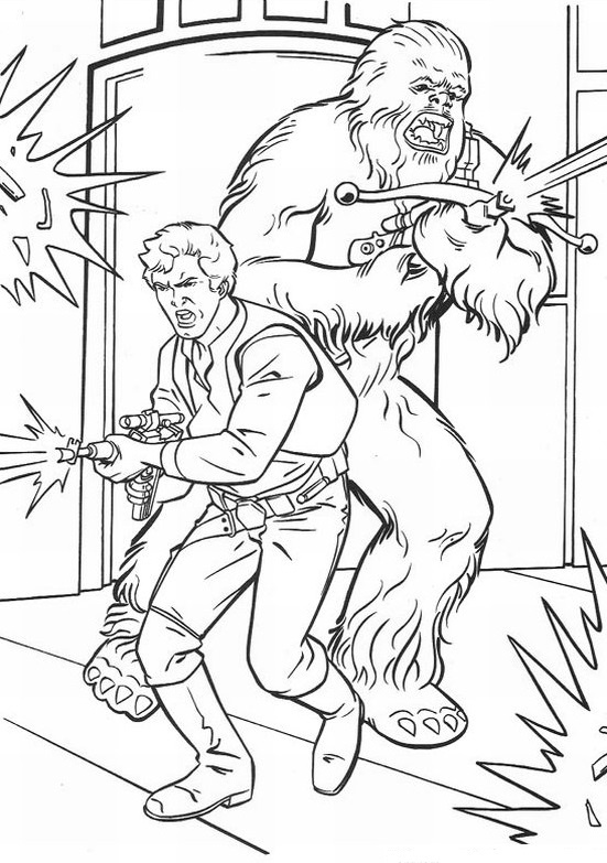 Han and Chewy - Star Wars Coloring Pages