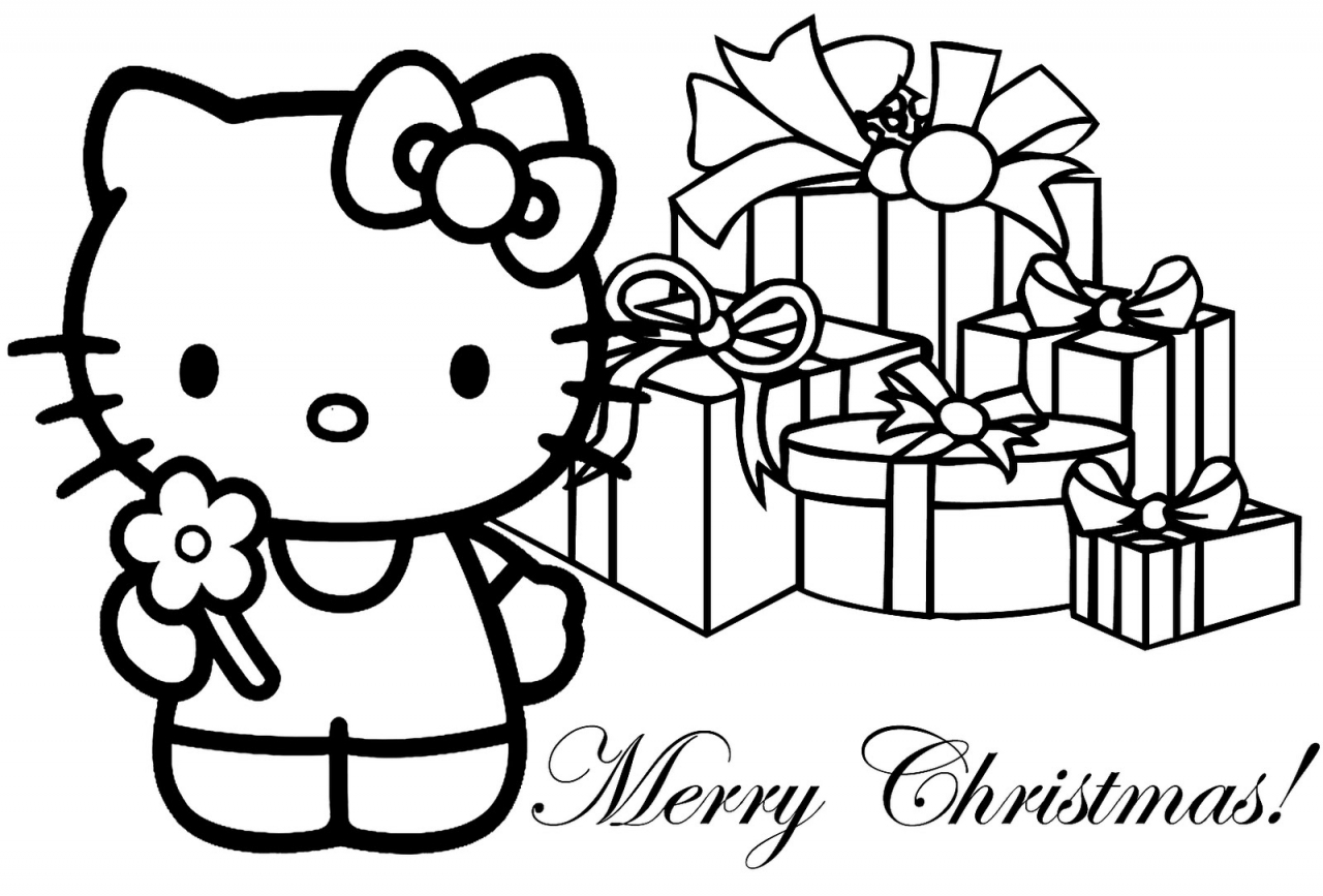 Free coloring pages for hello kitty - Hello Kitty Christmas Coloring Page