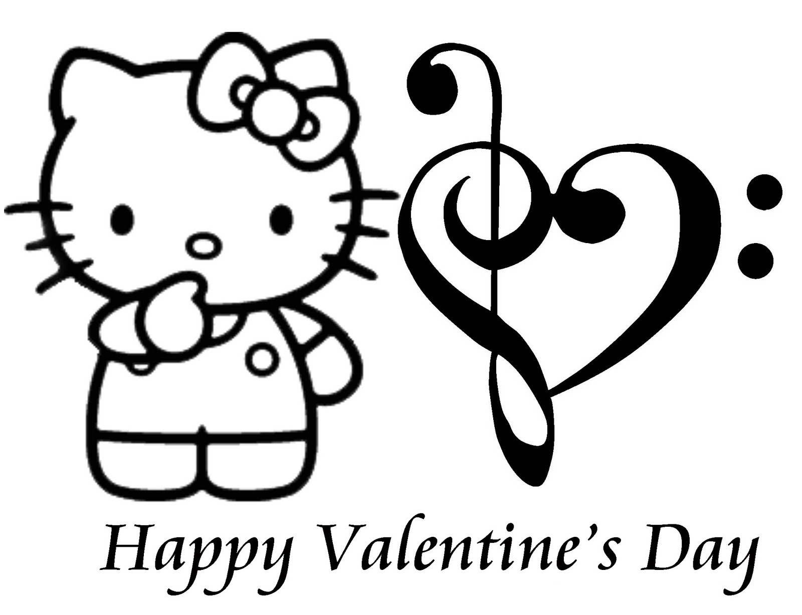 Free printable hello kitty coloring pages for kids for Valentines coloring page