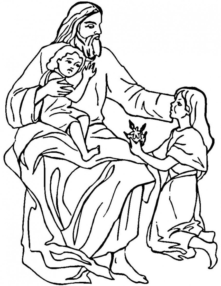 Coloring Pages Jesus And The Children Coloring Pages free printable jesus coloring pages for kids loves the children page
