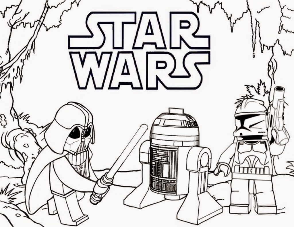 Lego Star Wars Coloring Pages - Darth Vader and R2