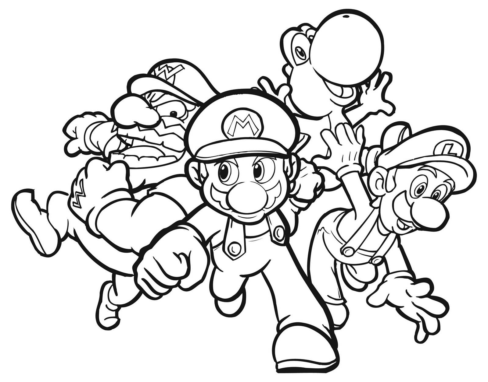 Characters Coloring Pages Free Printable Mario For Kids
