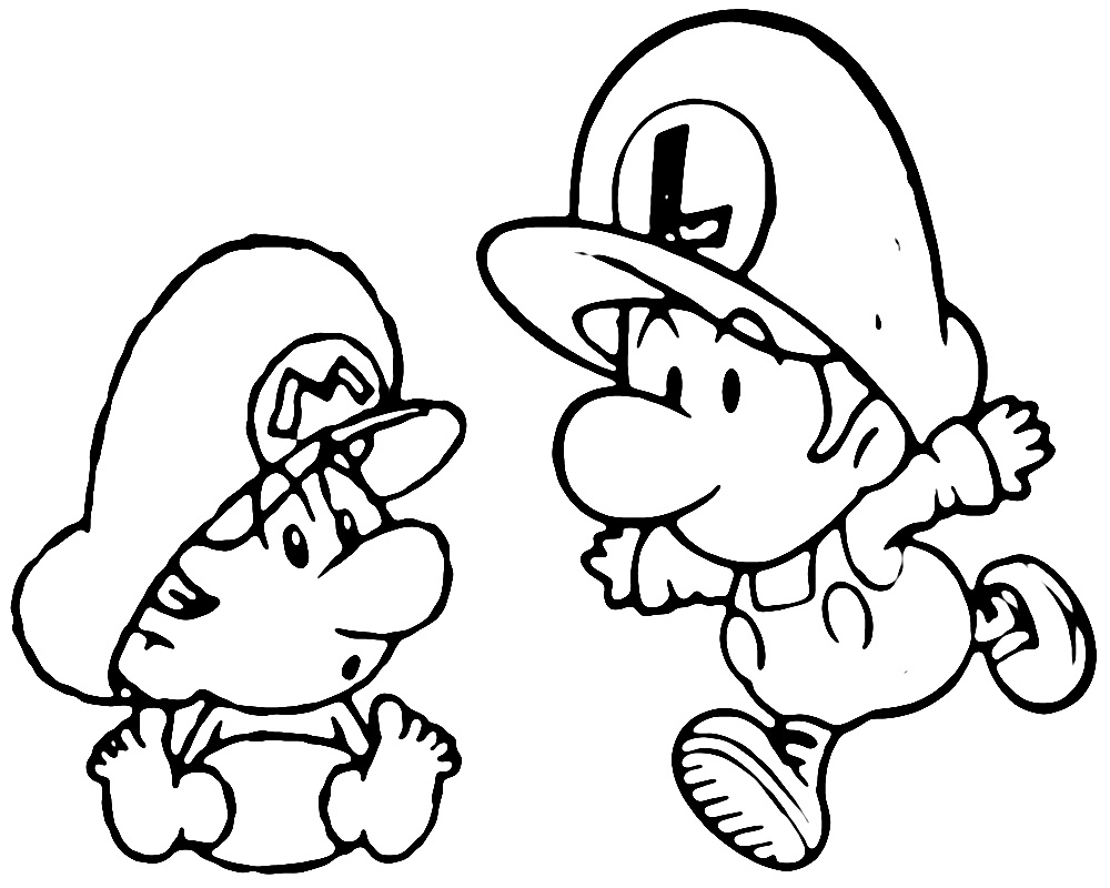 Free Coloring Pages Of 8 Bit Mario And Luigi Mario Luigi Coloring Pages