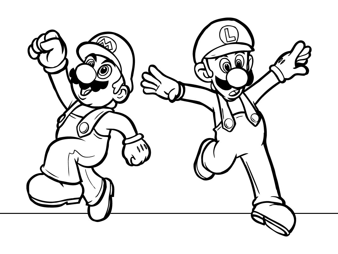 Free coloring in pages - Mario Coloring Pages