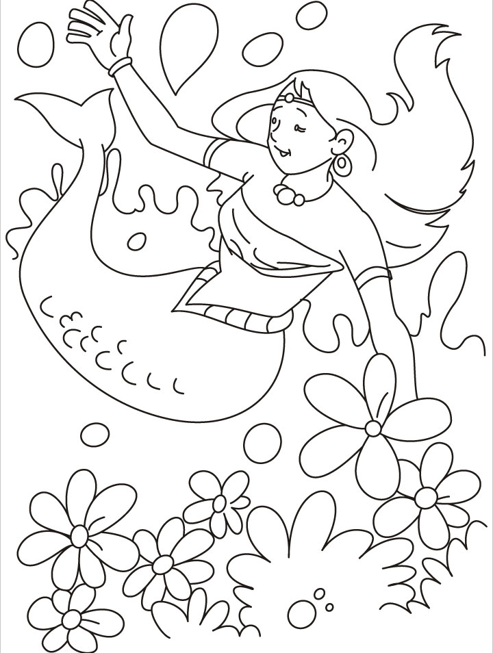 Free Realistic Mermaid Coloring Pages