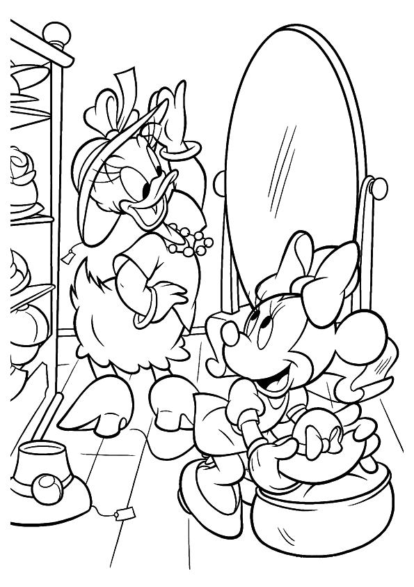 Minnie Mouse and Daisy Duck Coloring Pages